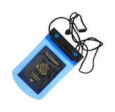 Small plastic waterproof pouch with passport Royalty Free Stock Image