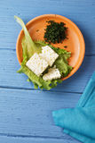 Small plate of cheese above view Stock Photography
