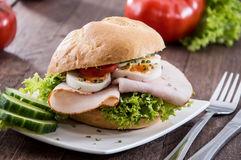 Small plate with Chicken Sandwich Royalty Free Stock Photos