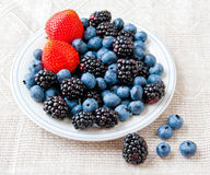 Small plate with fresh summer berries - strawberry, blueberry an Royalty Free Stock Image