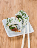 Small plate with fresh Sushi Rolls Royalty Free Stock Photography