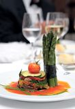 Small Plate Of Gourmet Food At Wedding Stock Photography