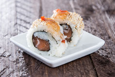 Small plate with Sushi Rolls Stock Images