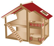 Small playhouse for kids. Wooden miniature house Stock Image
