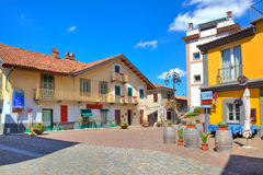 Small plaza in italian town of Barolo. Royalty Free Stock Photos