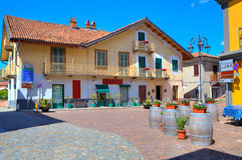 Small plaza in italian town of Barolo. Stock Image