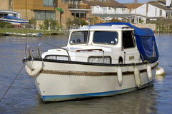 Small Pleasure Boat. Moored on river ready for leisure trip Stock Photography