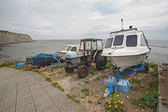 Small pleasure boat on slipway at coast Stock Image
