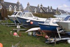 Small pleasure boats in a row Stock Image