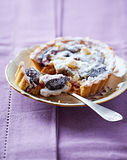 Small Plum Tart on a Plate Stock Photography