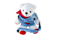 Small Teddy with red feet wrapped blue centimeter Royalty Free Stock Images