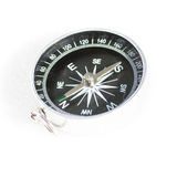 Small pocket compass silver black isolated on white background Royalty Free Stock Photo