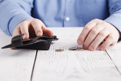 Small pocket money and empty wallet, crisis concept Royalty Free Stock Photos