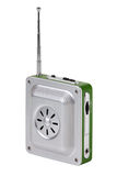 Small pocket radio with an antenna. On a white background Royalty Free Stock Photos