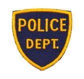 Police Dept Patch. Small Police Department Shield Patch Isolated on a White Background royalty free stock image