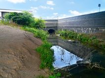 Small polluted stream Royalty Free Stock Photography
