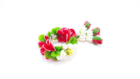 Small Polymer Clay Garland Of Jasmine Flowers on white backgroun Stock Photography