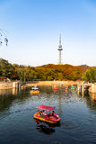 Small pond with boats in Zhongshan Park in Autumn, Qingdao, China. The TV tower is in the background, and the hills are covered in red leaves Royalty Free Stock Photography