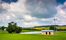 Small pond on a farm in rural York County, Pennsylvania. Royalty Free Stock Photo