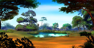 Small Pond on a Forest Glade in a Summer Day. Idyllic View of the Small Pond on a Forest Glade Surrounded by Trees in a Sunny Summer day. Digital Painting Royalty Free Stock Images