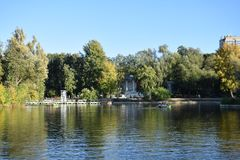 The small pond in the Gorky Park. Moscow stock photography