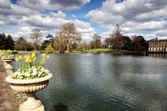 Small pond in Kew gardens in London. The Royal Botanic Gardens, Kew was founded in 1759 and declared a UNESCO World Heritage Site in 2003 Royalty Free Stock Image
