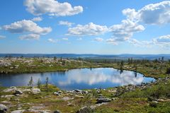 Small pond on Lapland fell top. Small pond reflecting blue sky and white clouds on Särkitunturi fell top in Muonio, Lapland, Finland royalty free stock images