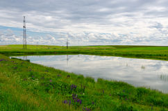 Small pond surrounded by green fields, rural landscape Royalty Free Stock Photo