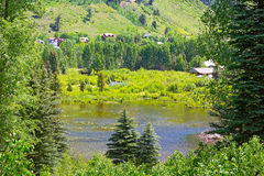 Small pond in Telluride, Colorado. Royalty Free Stock Images