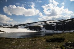 Some snow is still laying on top of a mountain in the summertime. stock image