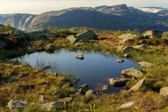 Small pond on the track to Trolltunga, in a beautiful landscape in Odda, Norway Stock Photo