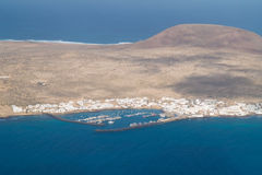 Small port. Port on the small island, aerial view Stock Photos