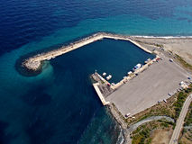 Small port aerial. Small port in aegean island of Samothraki, Greece, aerial view royalty free stock photo