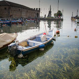 Small port in the center of Lazise, Lake Garda, Italy Stock Photography