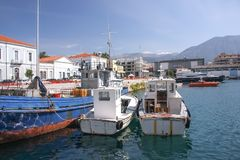 Small port of the city of Kalamata in the Peloponnese Royalty Free Stock Photos