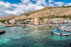 Small port with fishing boats in the center of Mondello near center of city Palermo. Stock Images