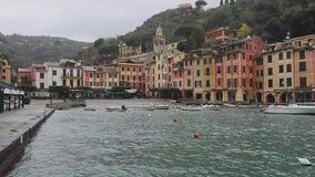 Portofino Port Winter. Small Port Harbour in Portofino Italy Winter stock footage