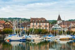 Small port on the lake Geneva Royalty Free Stock Photography