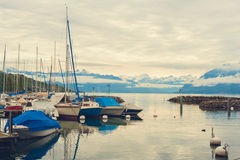 Small port on the lake Geneva Royalty Free Stock Images