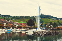 Small port on the lake Geneva Stock Images