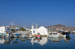 Small port in Naoussa village, Paros island, Cyclades, Greece Royalty Free Stock Image