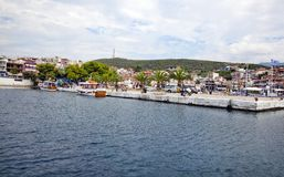 Small port in Neos Marmaras village, Greece Royalty Free Stock Images