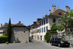 Small port town of Lutry on the Lake Geneva, Switzerland Royalty Free Stock Photography