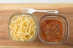 A small portion of linguini pasta and pasta tomato Stock Photo