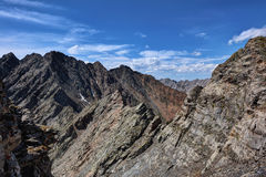 A small portion of the mountain range with peaks Stock Photo