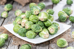 Small portion of raw Brussel Sprouts. Portion of raw Brussel Sprouts Royalty Free Stock Photography