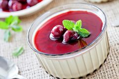 Small Pot Of Cherry Panna Cotta Royalty Free Stock Images
