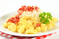 Small potato dumplings with bacon and cabbage Royalty Free Stock Photography
