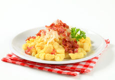 Small potato dumplings with bacon and cabbage Stock Image