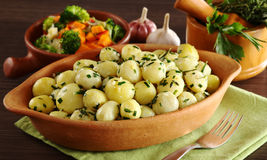 Small Potatoes with Herbs Stock Photo